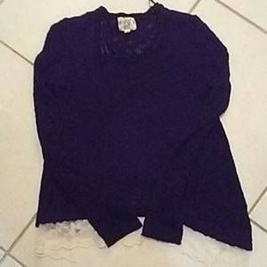 Nwot black sweater with lace trim